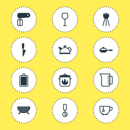Vector illustration of 12 cooking icons. Editable set of cutting board, pizza cutter, teapot and other icon elements.