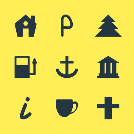 Vector illustration of 9 check-in icons. Editable set of legend, academy, cafe and other icon elements. Illustration