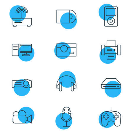 Vector illustration of 12 device icons line style. Editable set of gamepad, photo camera, headphones and other icon elements.