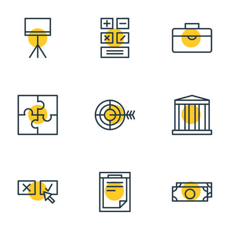 Vector illustration of 9 trade icons line style. Editable set of calculator, document, briefcase and other icon elements.