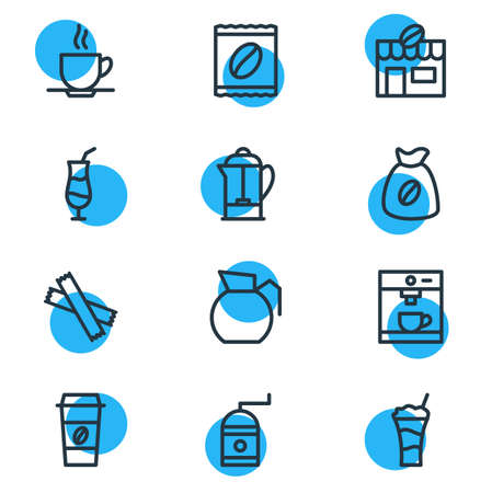 Vector illustration of java icons line style. Editable set of cocktail, sack, sugar and other icon elements.