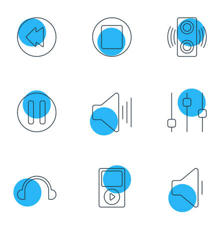 illustration of 9 melody icons line style. Editable set of headphones, player, equalizer and other icon elements.
