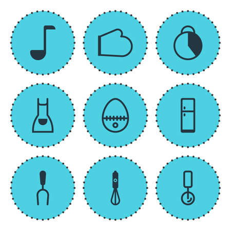 illustration of 9 restaurant icons. Editable set of fridge, pizza cutter, egg split and other icon elements.
