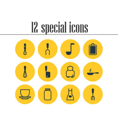 Vector illustration of 12 kitchenware icons. Editable set of dining tool, skillet, apron and other icon elements. Illustration