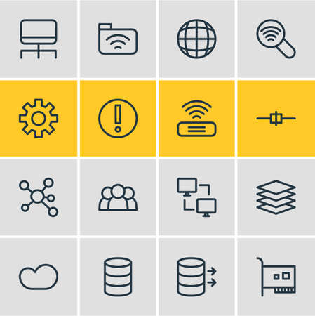 Illustration Of 16 Network Icons Line Style Editable Set Stock