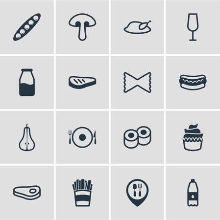 Vector illustration of meal icons line style. Editable set of drink bottle, dinner place, sushi and other icon elements.