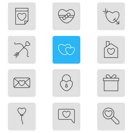 Vector illustration of 12 love icons line style.