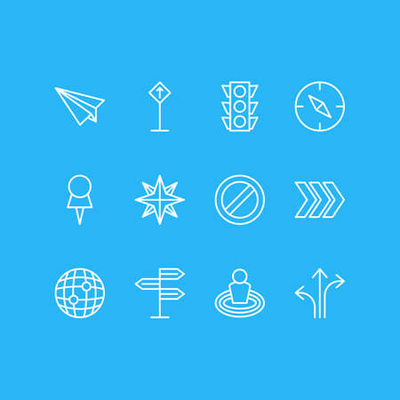 illustration of 12 location icons line style. Editable set of check-in, no entry, orientation and other icon elements.
