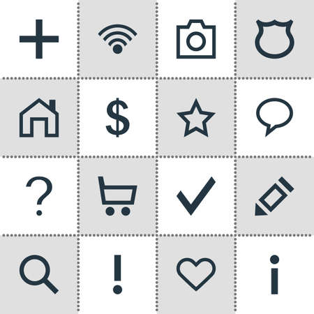 Vector illustration of 16 interface icons. Editable set of search, warning, message bubble and other icon elements. 免版税图像