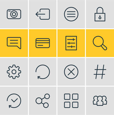 illustration of 16 annex icons line style. Editable set of padlock, thumbnails, hashtag and other icon elements.