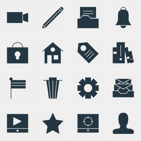 illustration of 16 internet icons. Editable set of user, video player, bin and other icon elements. Archivio Fotografico
