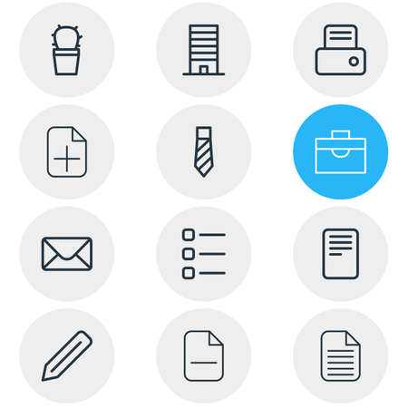 illustration of 12 workplace icons line style. Editable set of document, list, pen and other icon elements.