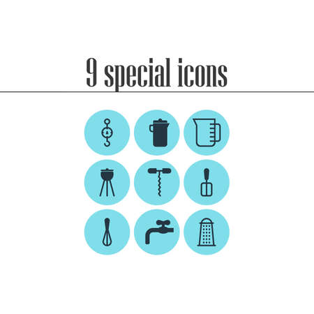 Vector illustration of 9 kitchenware icons. Editable set of waterworks, whisk, carafe and other icon elements.