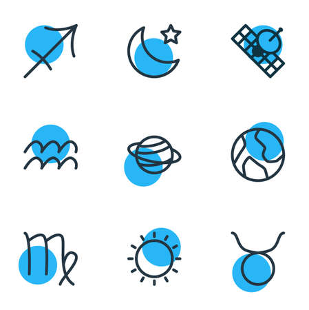 Vector illustration of 9 constellation icons line style. Editable set of sagittarius, aquarius, moon and other icon elements.