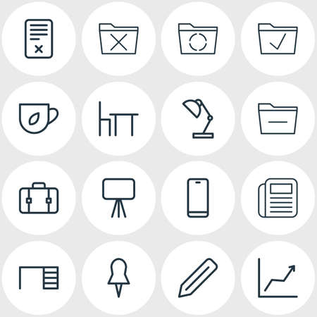 Vector illustration of 16 workplace icons line style. Editable set of newspaper, tea, minus and other icon elements. Иллюстрация