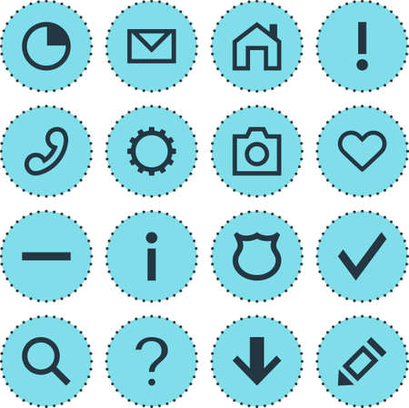 Vector illustration of 16 member icons. Editable set of soul, phone, approve and other icon elements. Illustration