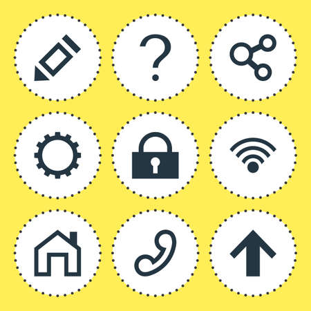 Vector illustration of 9 interface icons. Editable set of homepage, lock, guide and other icon elements.