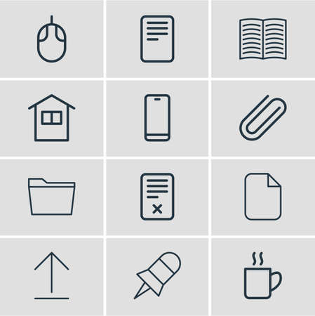 Vector illustration of bureau icons line style. Editable set of book, delete, tie and other icon elements. Vectores