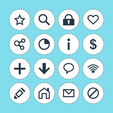 Vector illustration of 16 interface icons. Editable set of write, homepage, information and other icon elements.