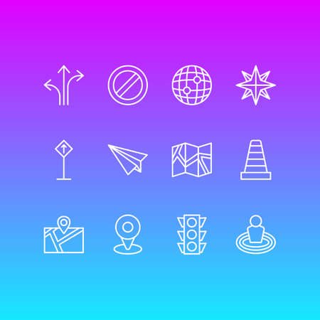 Vector illustration of 12 navigation icons line style. Editable set of cone, traffic light, read sign and other icon elements.