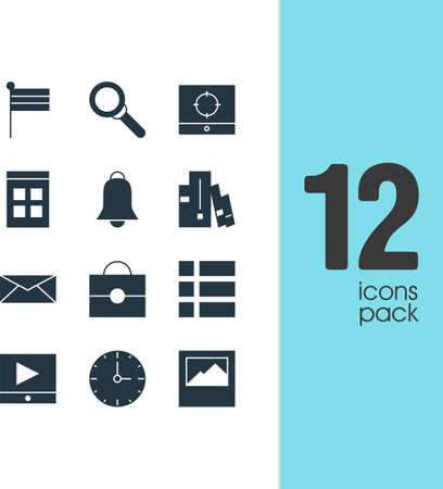 Vector illustration of 12 internet icons. Editable set of briefcase, alarm, calendar and other icon elements. Ilustração