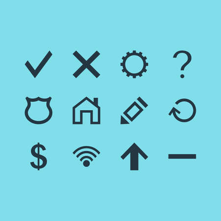 Vector illustration of 12 user icons. Editable set of remove, guide, cancel and other icon elements.