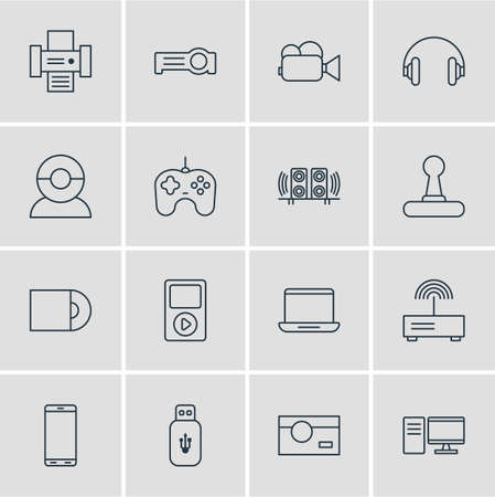 illustration of 16 accessory icons line style. Editable set of flash drive, joystick, printer and other icon elements.