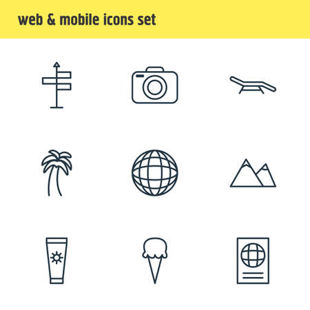 illustration of 9 season icons line style. Editable set of camera, navigation, beach bench and other icon elements.