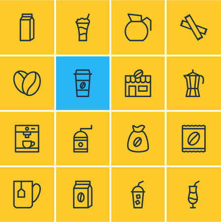 illustration of 16 coffee icons line style. Editable set of pack, cocktail, tea bag and other icon elements.
