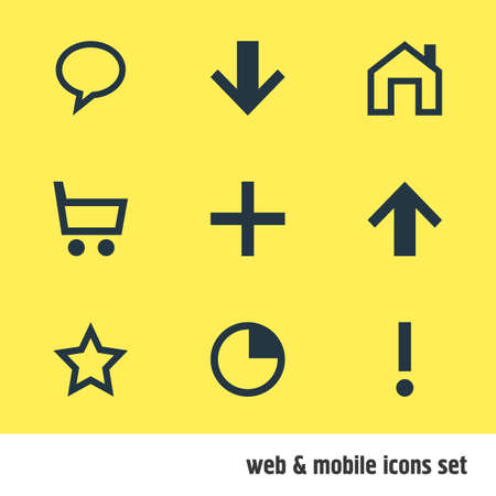Vector illustration of interface icons. Editable set of warning, down, homepage and other icon elements.