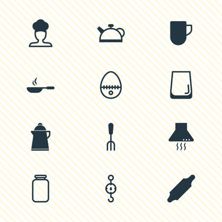 Vector illustration of kitchenware icons. Editable set of jar, kettle, egg split and other icon elements.