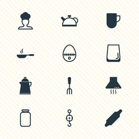 illustration of 12 restaurant icons. Editable set of jar, kettle, egg split and other icon elements. Stock Photo