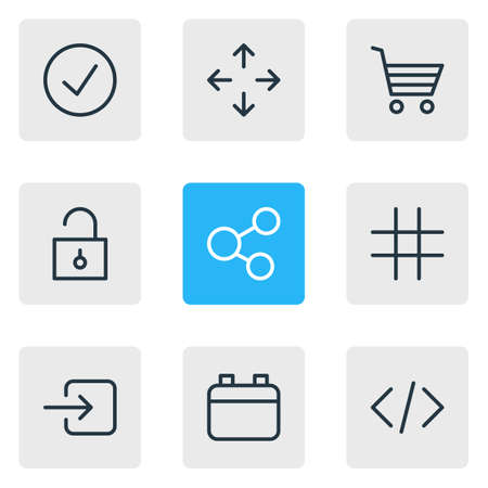 Vector illustration of 9 annex icons line style. Editable set of move, calendar, enter and other icon elements.