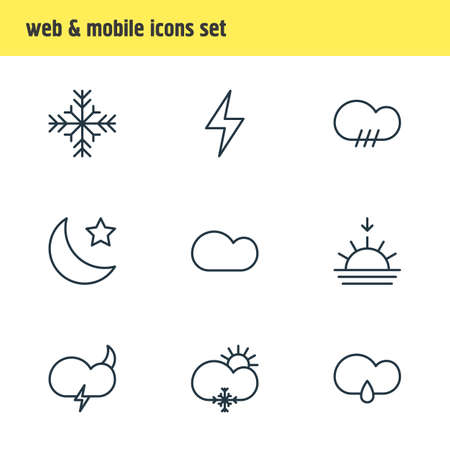 Vector illustration of 9 sky icons line style. Editable set of sunset, snowstorm, star and other icon elements. Illustration