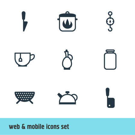 illustration of 9 restaurant icons. Editable set of meat cleaver, tea cup, decanter and other icon elements.
