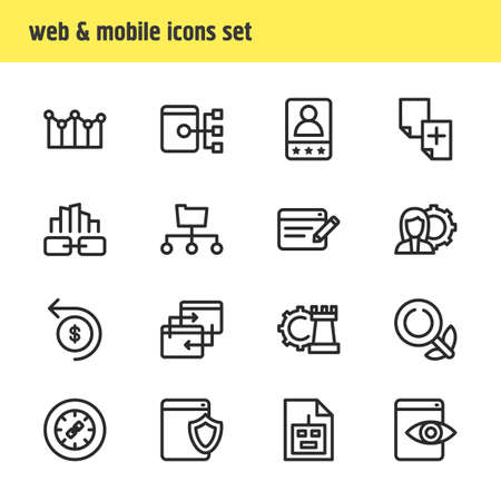 Vector illustration of 16 advertisement icons line style. Editable set of SEO consulting, game developing, web visibility and other icon elements.
