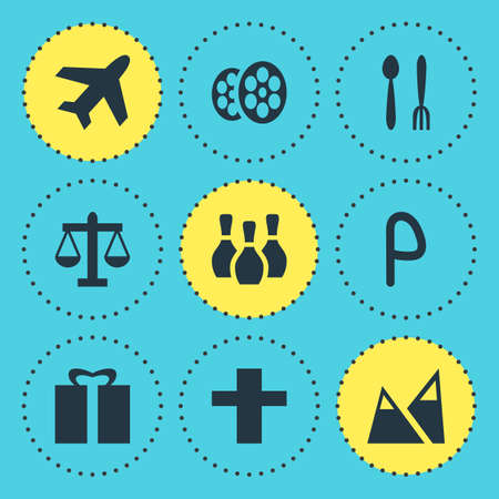 Vector illustration of 9 check-in icons. Editable set of bowling pins, mountain, religion and other icon elements.