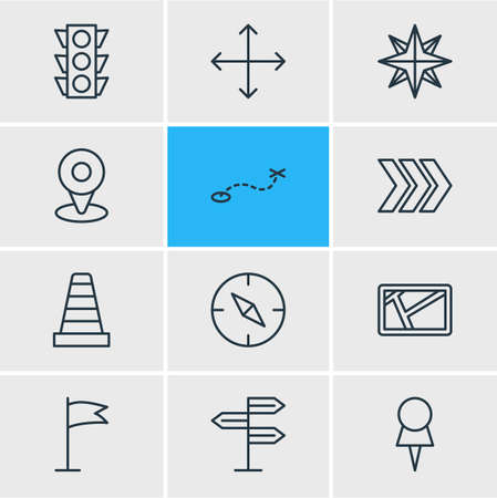 illustration of 12 location icons line style. Editable set of arrow, signpost, pin and other icon elements. Stock Photo
