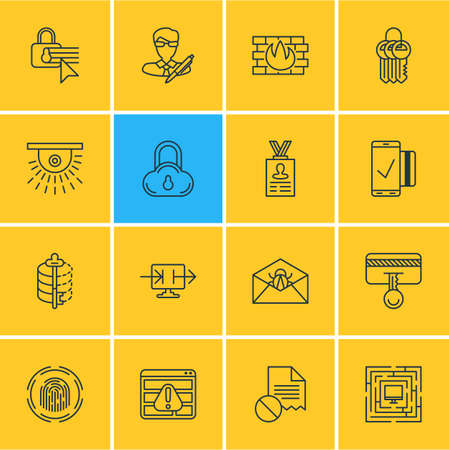 Vector illustration of 16 data icons line style. Editable set of video control, data sharing, security settings and other icon elements.
