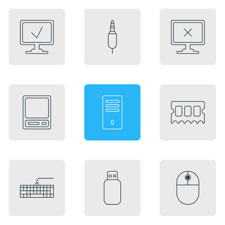 Vector illustration of 9 computer icons line style. Editable set of offline computer, access approved, memory stick and other icon elements. Çizim