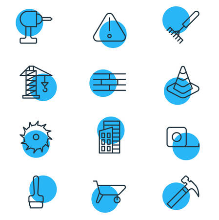 Vector illustration of 12 construction icons line style. Editable set of carrier, brush, brick wall and other icon elements.
