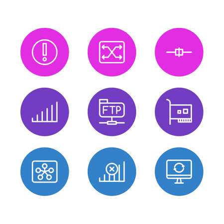 illustration of 9 web icons line style. Editable set of controller, no connection, error and other icon elements.