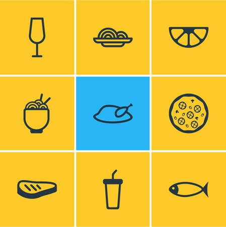 Vector illustration of 9 eating icons line style. Editable set of wineglass, spaghetti, noodles and other icon elements. Stock Illustratie