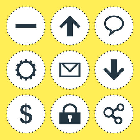 Vector illustration of 9 member icons. Editable set of mail, down, up and other icon elements. Illustration
