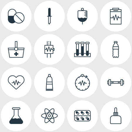 Vector illustration of 16 health icons line style. Editable set of serum, toothpaste, vial and other icon elements. Vektorové ilustrace