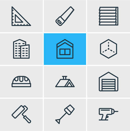 Vector illustration of 12 industry icons line style. Editable set of house 3d, siding, drill and other icon elements.