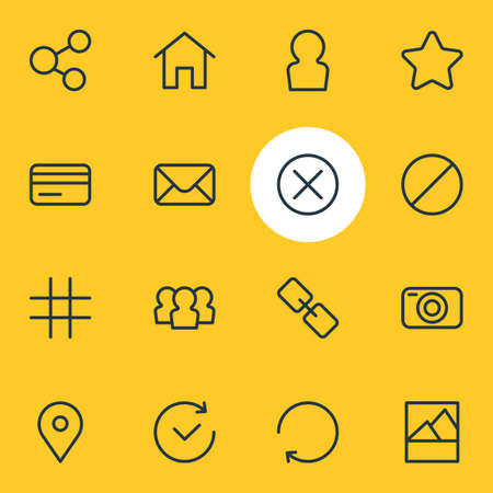 illustration of 16 annex icons line style. Editable set of social, close, user and other icon elements.