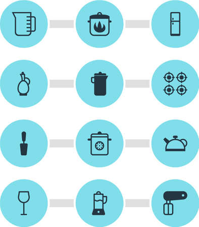 Vector illustration of 12 kitchenware icons. Editable set of teapot, carafe, fridge and other icon elements.