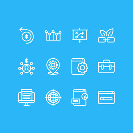 illustration of 12 advertising icons line style. Editable set of marketing strategy, domain registration, natural link and other icon elements.