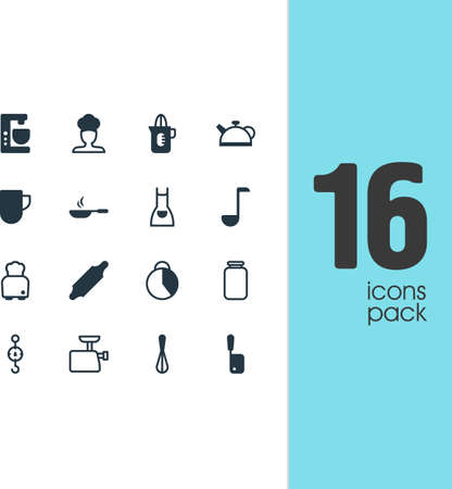 Vector illustration of 16 restaurant icons. Editable set of squeezer, rolling pin, teapot and other icon elements.